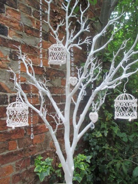 Wedding Wishing Tree Vintage Manzanita White 110 cms,  Birdcage Decorations & Droplets